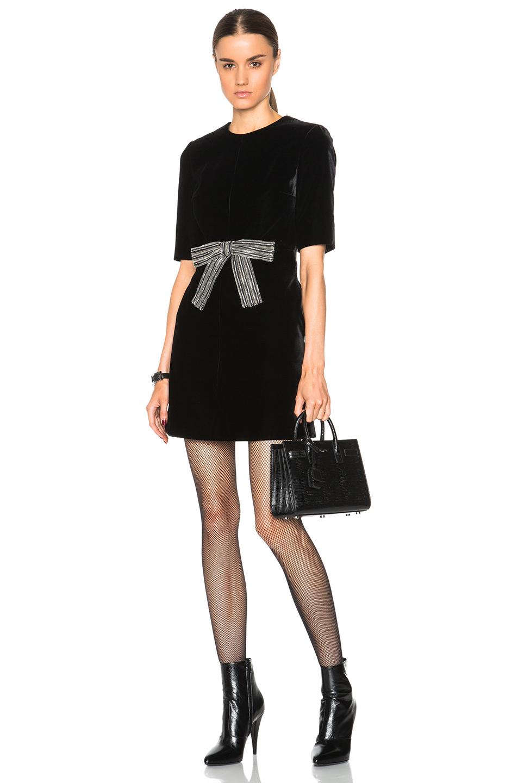 Lyst Saint Laurent Velvet Babydoll Dress With
