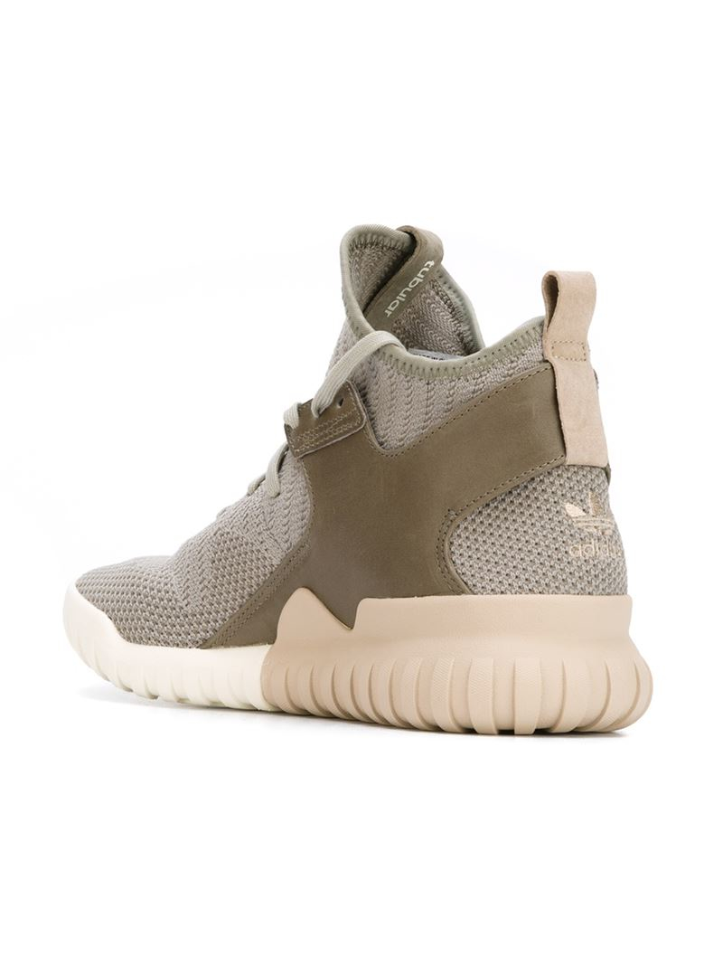Lyst - adidas Originals Tubular X Knit High-Top Sneakers in Green ... 220768d90ccc