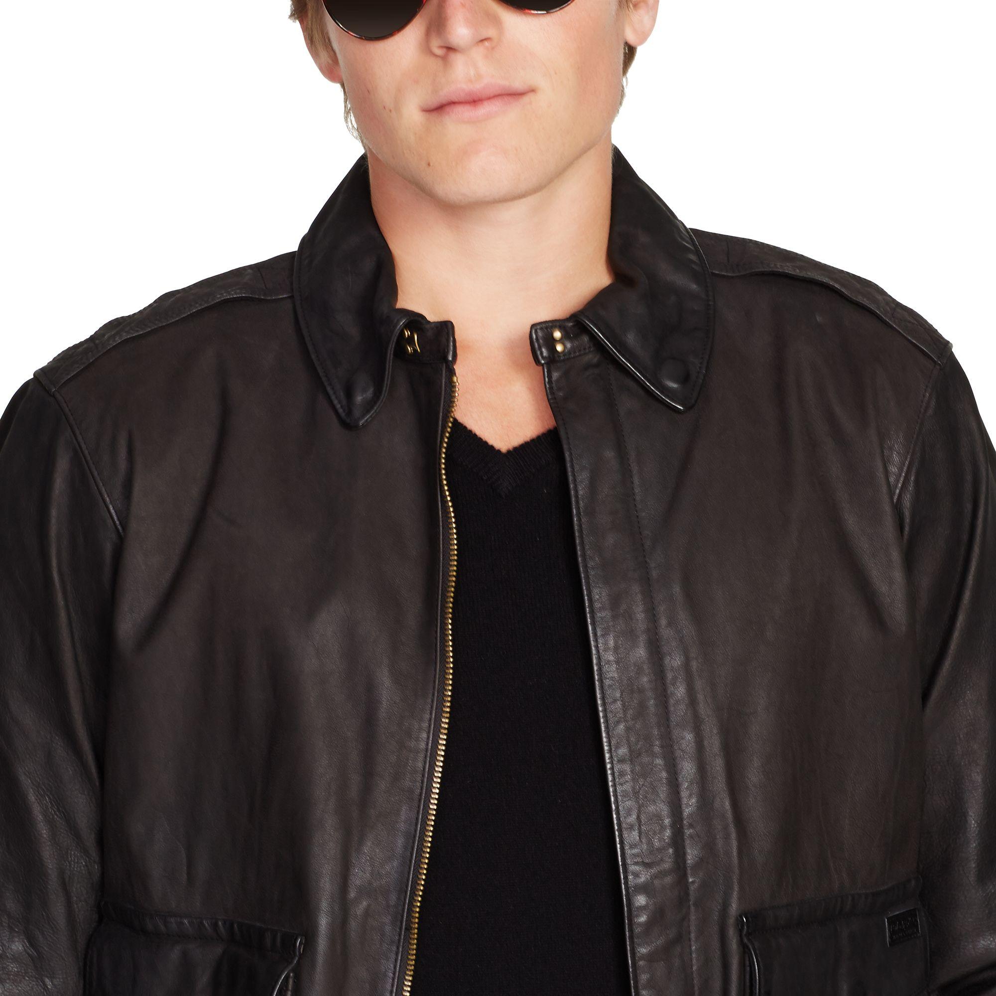 f0fd4f015 ralph lauren leather jacket xl