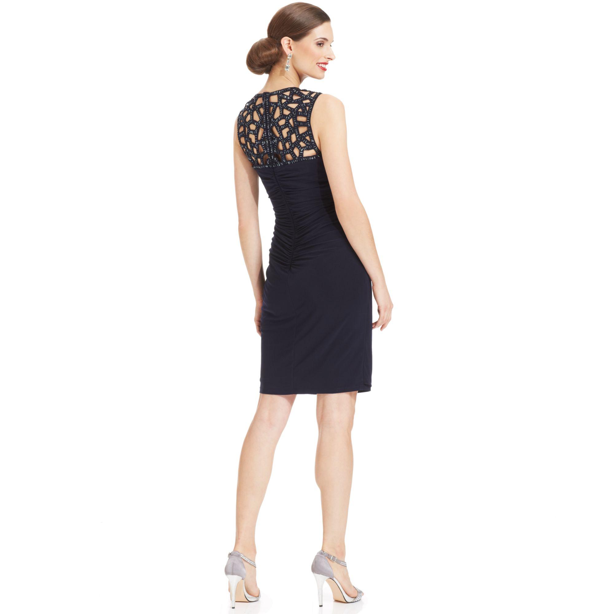 Xscape Sleeveless Lasercut Embellished Dress in Blue  Lyst