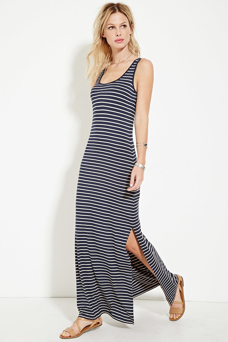 Lyst Forever 21 Striped High Slit Maxi Dress In Blue