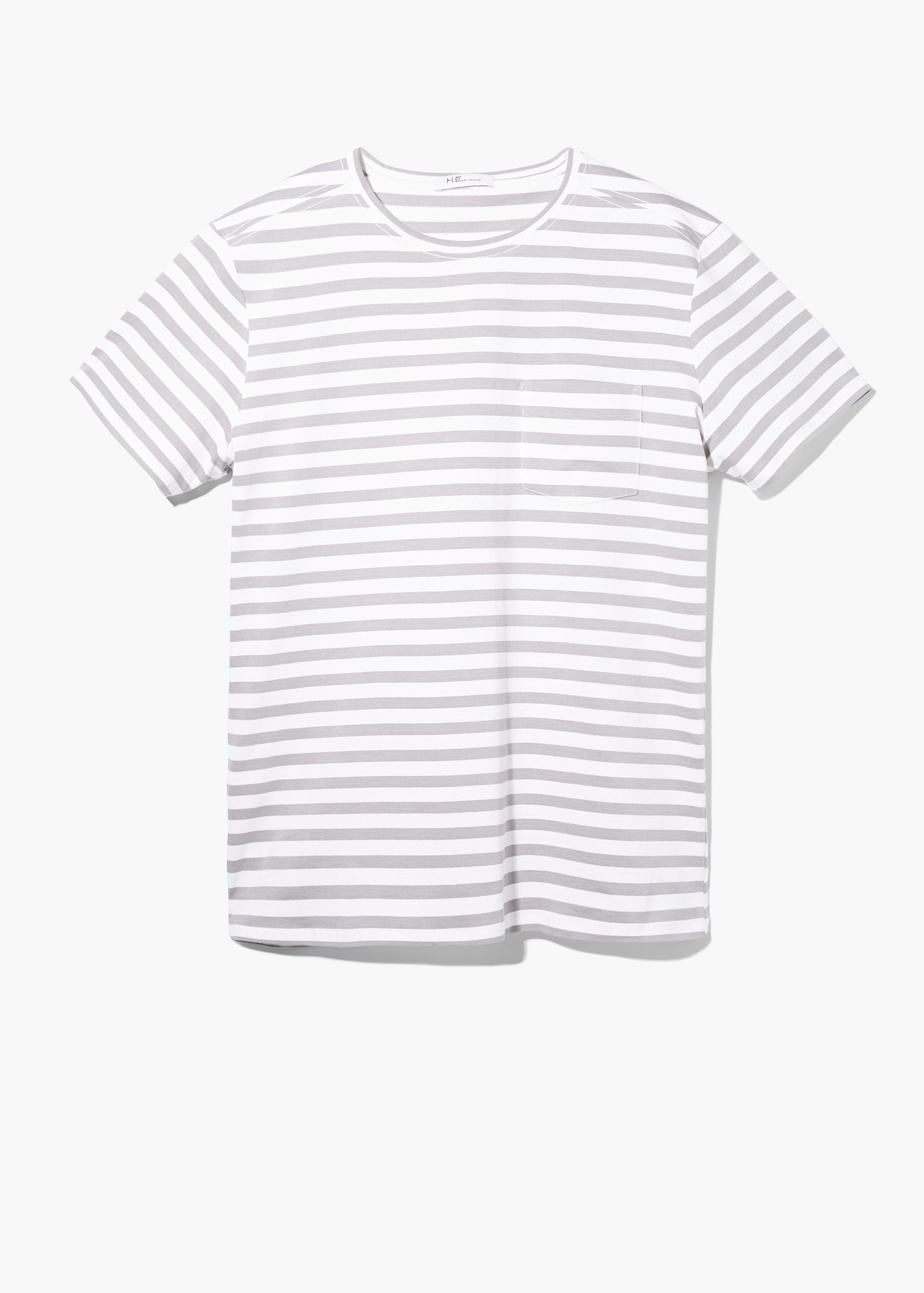 Lyst mango striped t shirt in gray for men Grey striped t shirt