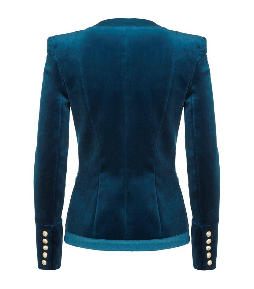 Balmain Short Velvet Blazer in Blue | Lyst