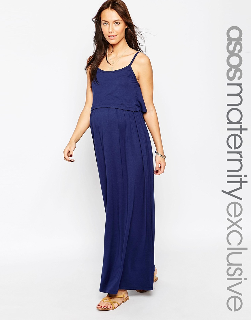 Lyst Asos Nursing Strappy Maxi Dress With Double Layer