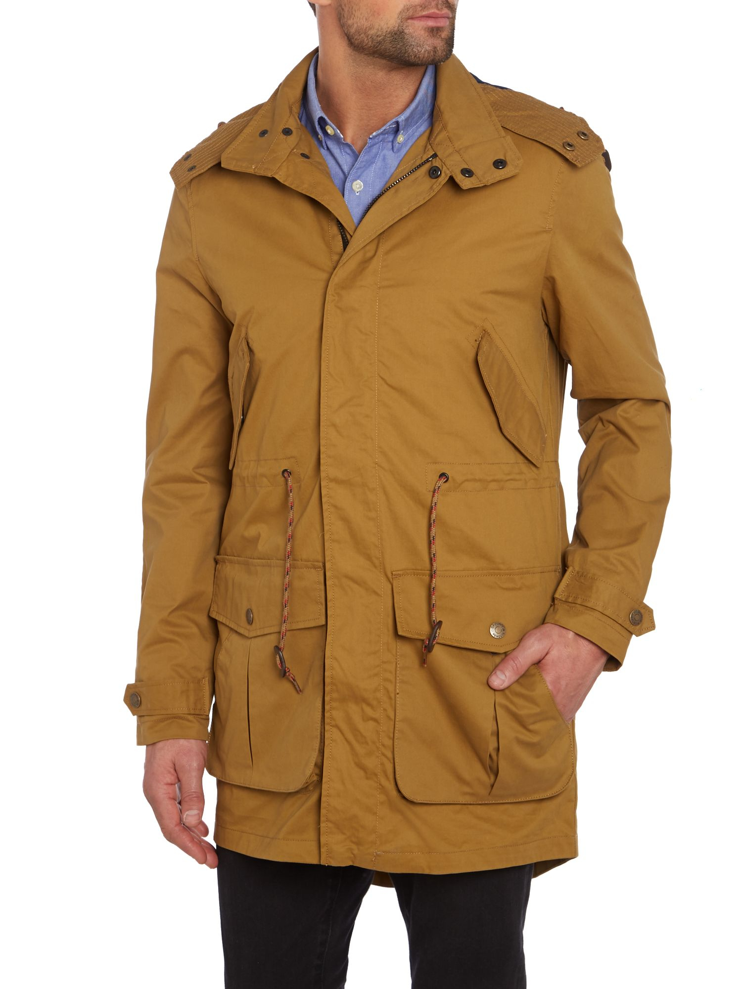 Original penguin Thatch Waxed Fishtail Parka in Natural for Men | Lyst