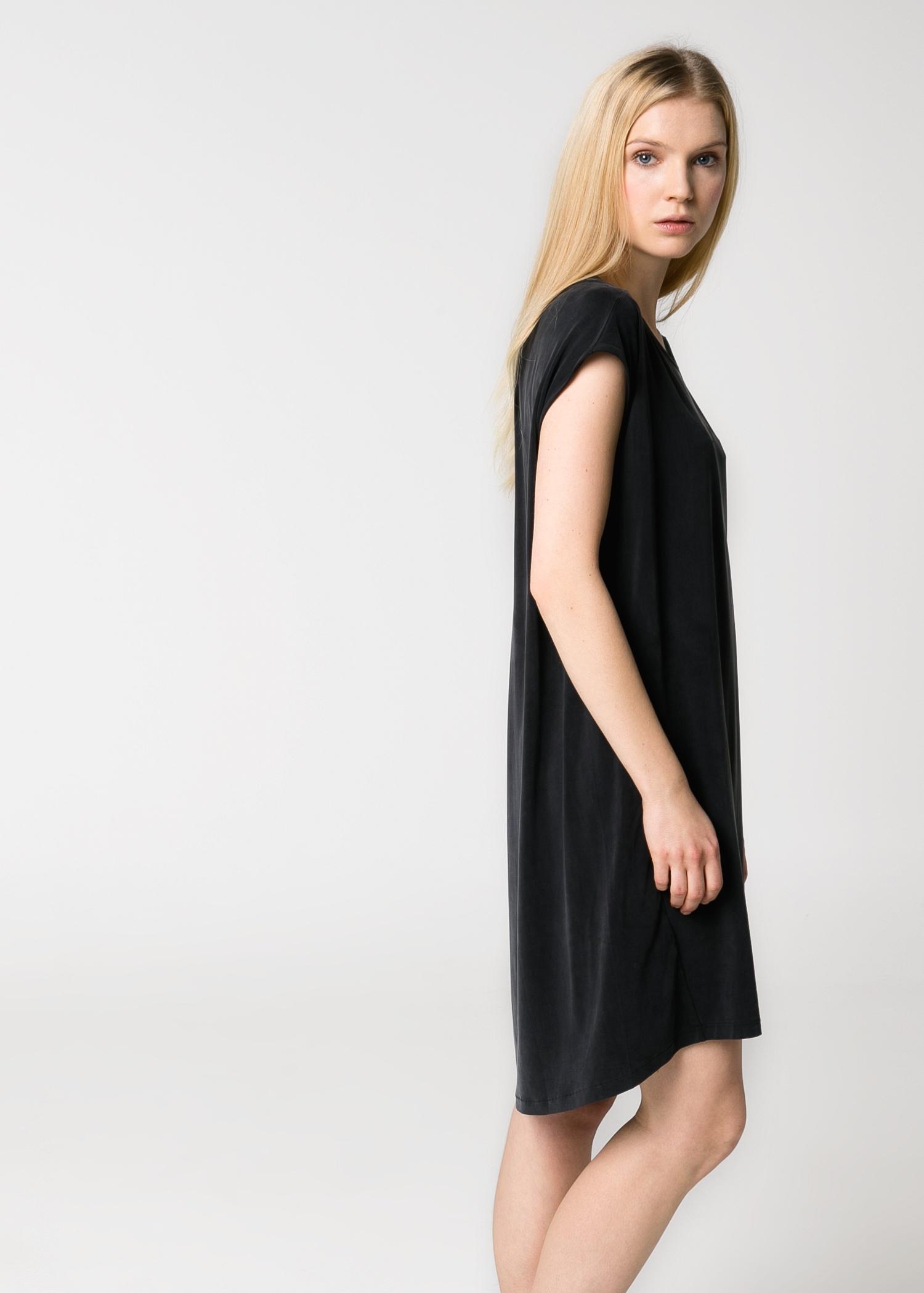 mango cupro oversize dress in black lyst