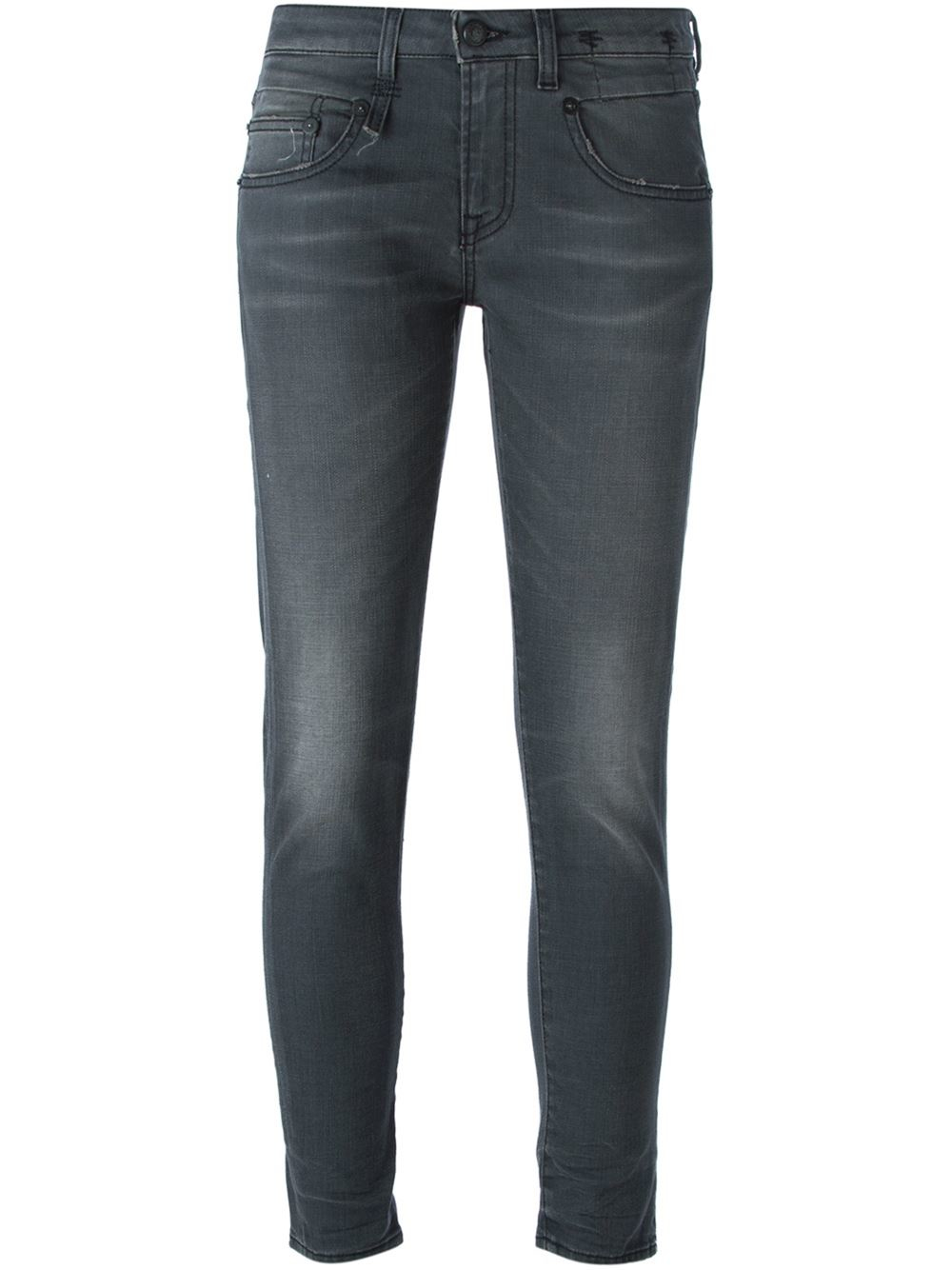 lyst  r13 cropped skinny jeans in gray