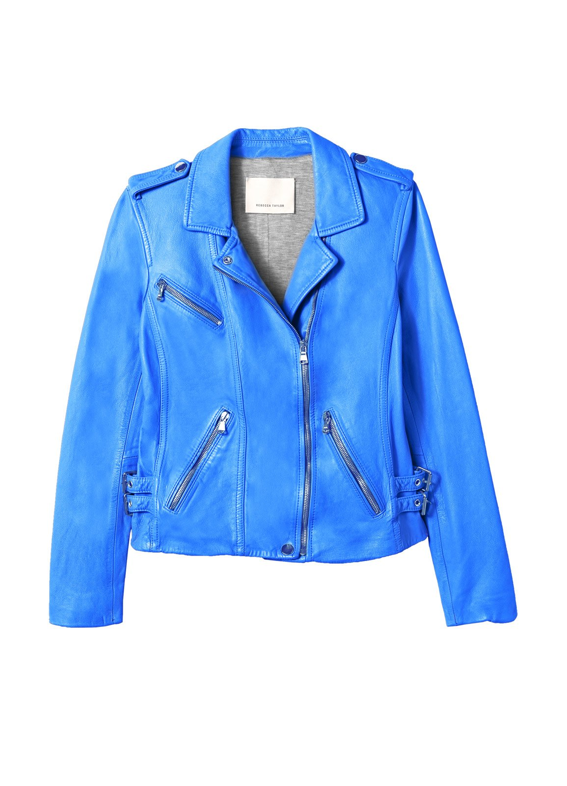 Rebecca taylor Washed Leather Jacket in Blue | Lyst