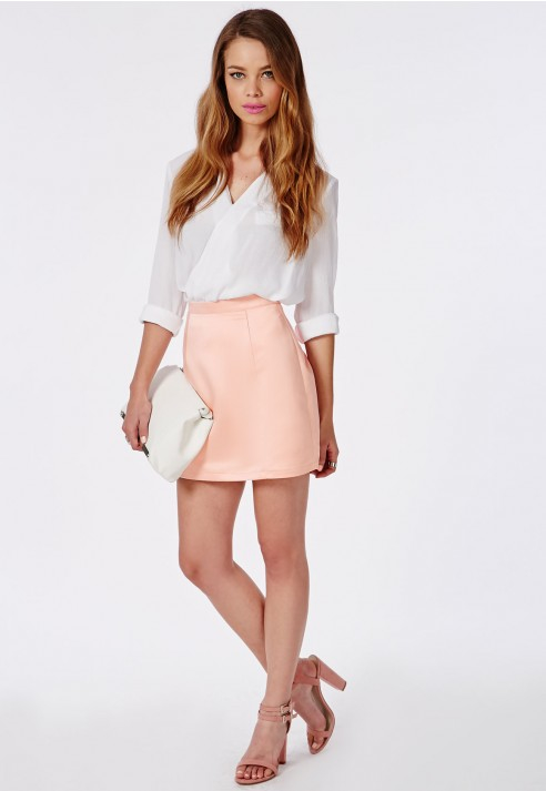 Missguided Satin A Line Mini Skirt Dusky Pink in Pink | Lyst