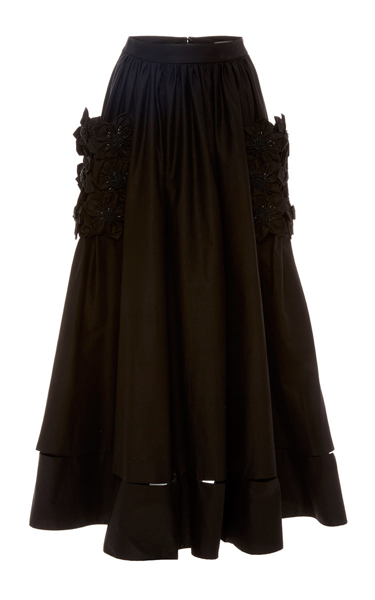 zac posen black pleated circle skirt with floral