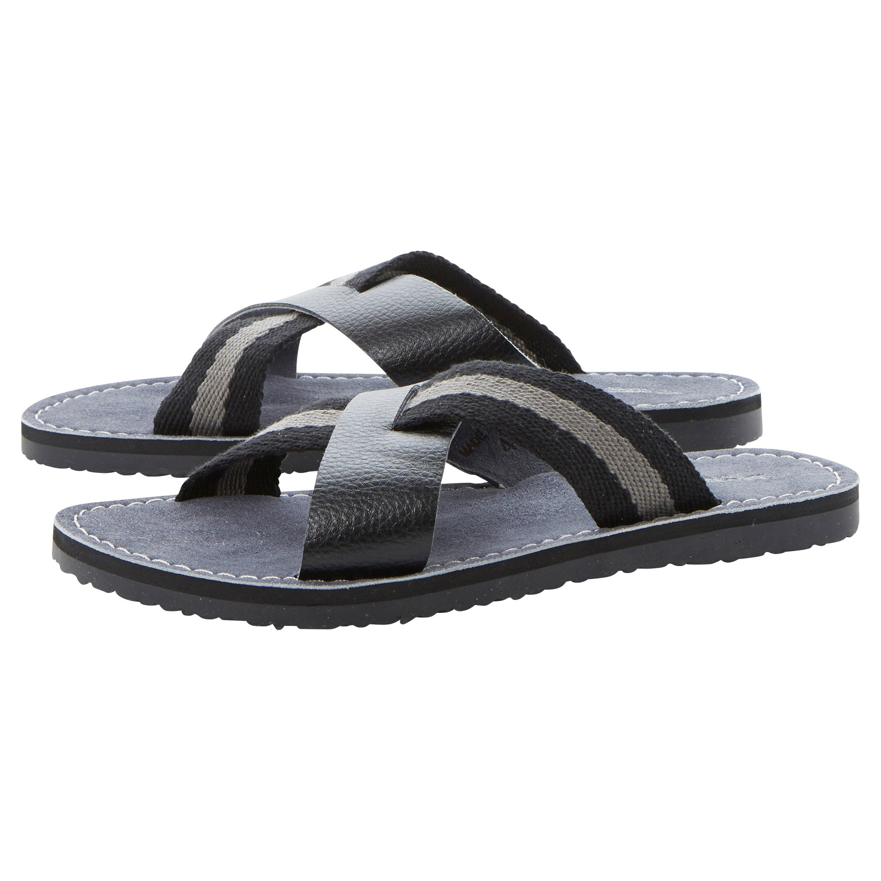 3435592e9d8f Dune Indiana Cross Over Canvas And Leather Sandals in Black for Men ...