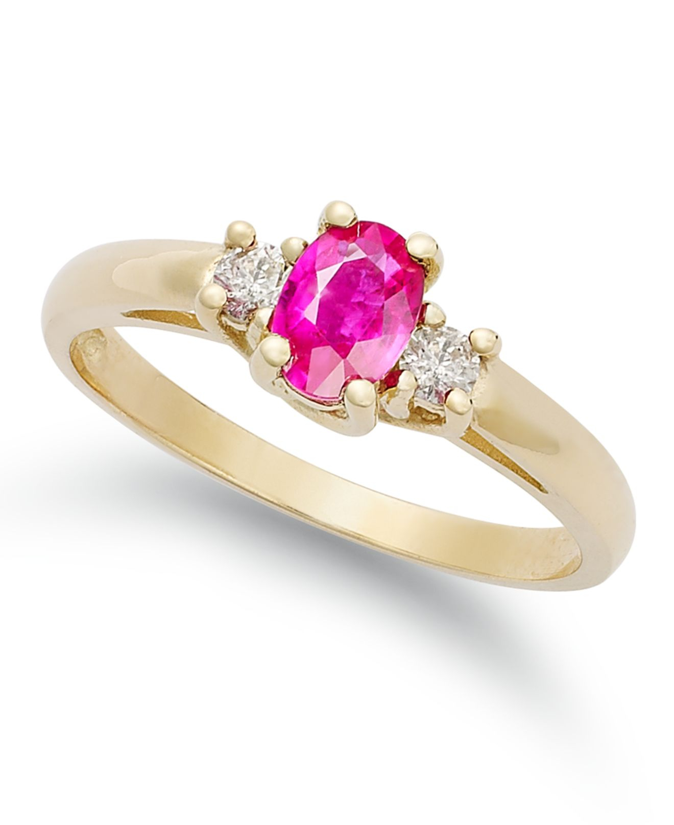 macy s 14k gold ring ruby 1 2 ct t w and 1 8