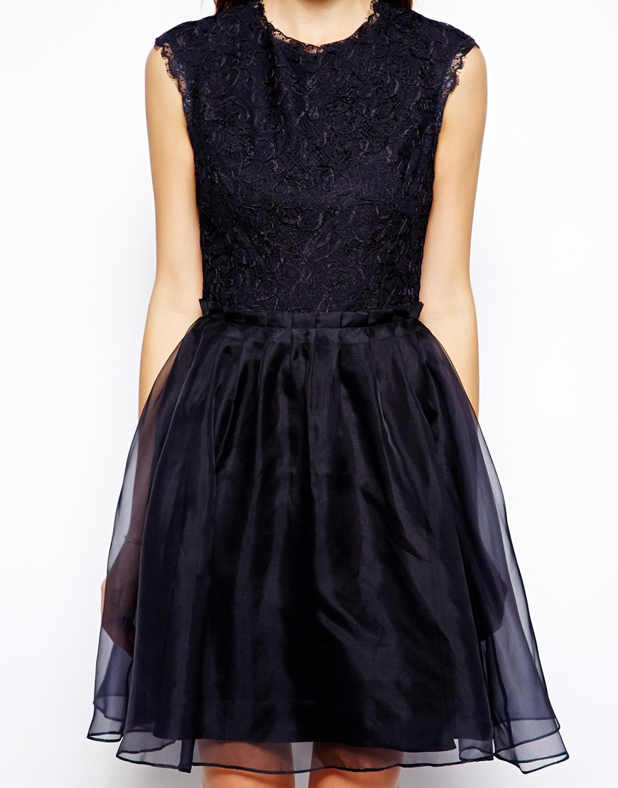 Black lace dress full skirt