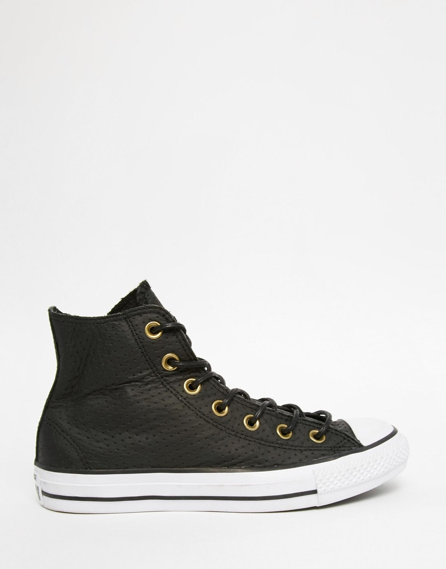 Womens Converse Black Leather Hi Top Trainers
