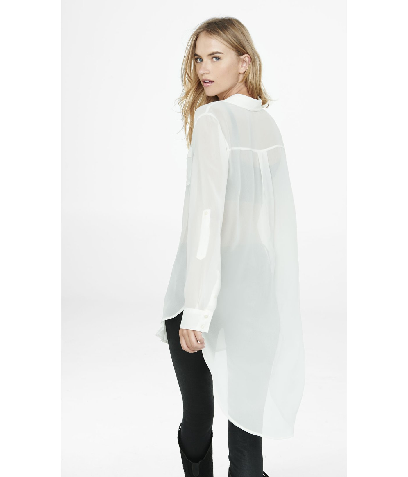 Express Sheer Chiffon Tunic Blouse in White | Lyst