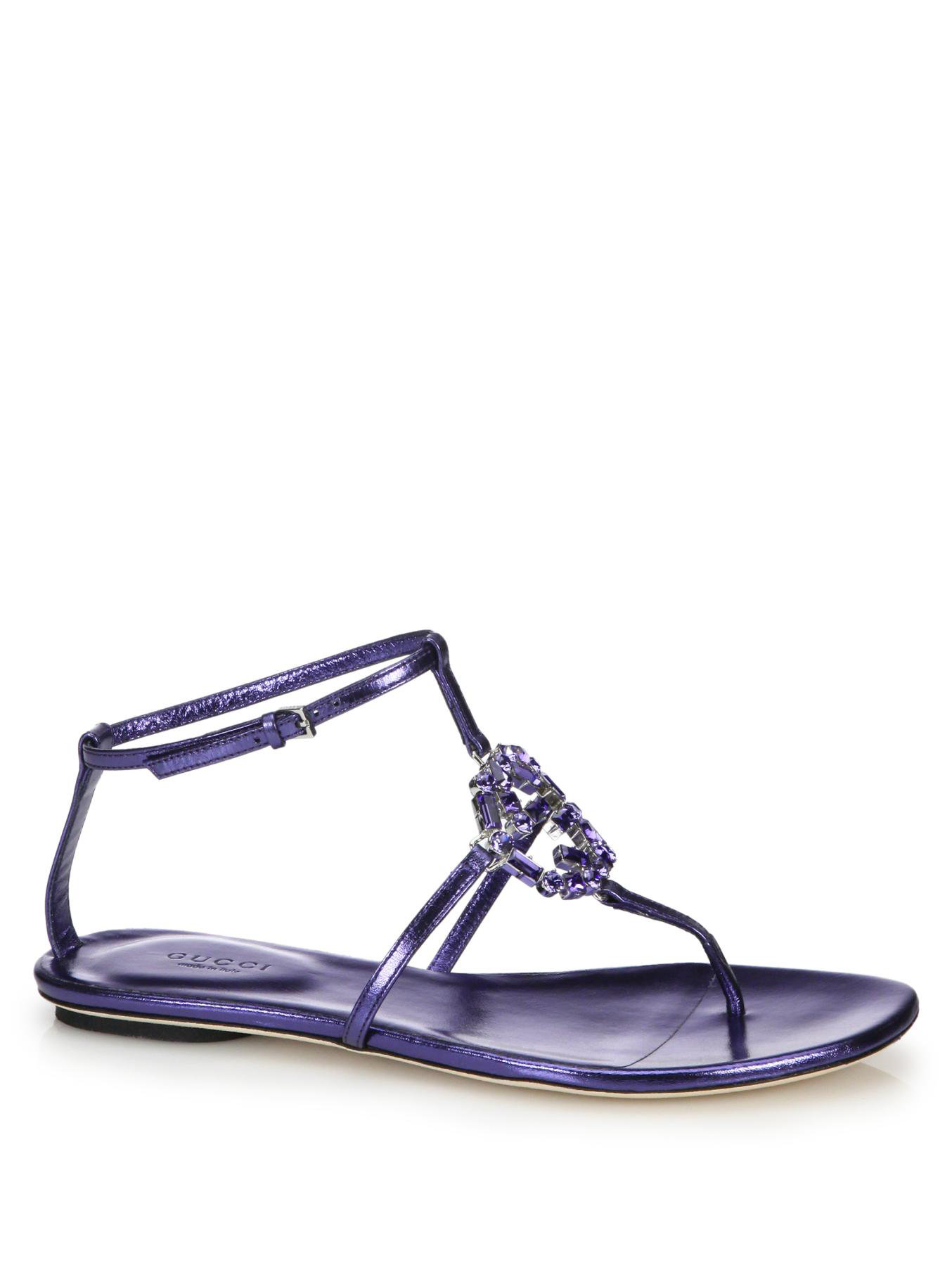 cfdf1bbdfec2 Lyst - Gucci Gg Sparkling Crystal   Leather Sandals in Blue