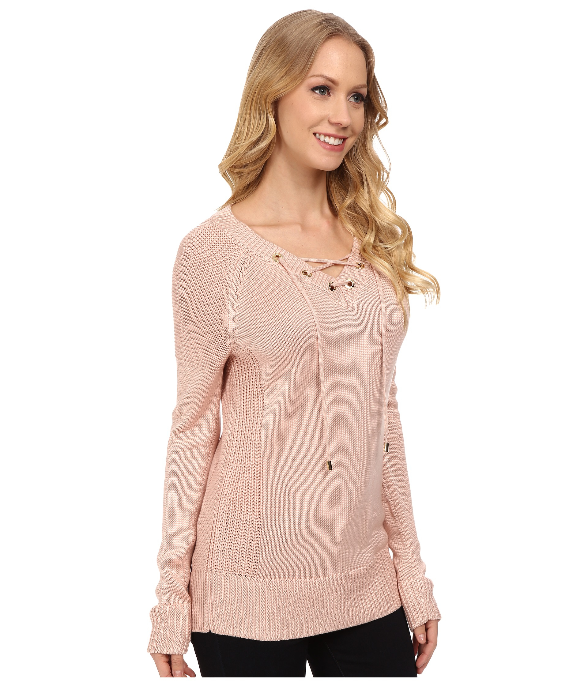 0a0888165d84e Lyst - Calvin Klein Lace Up V-neck Sweater in Pink