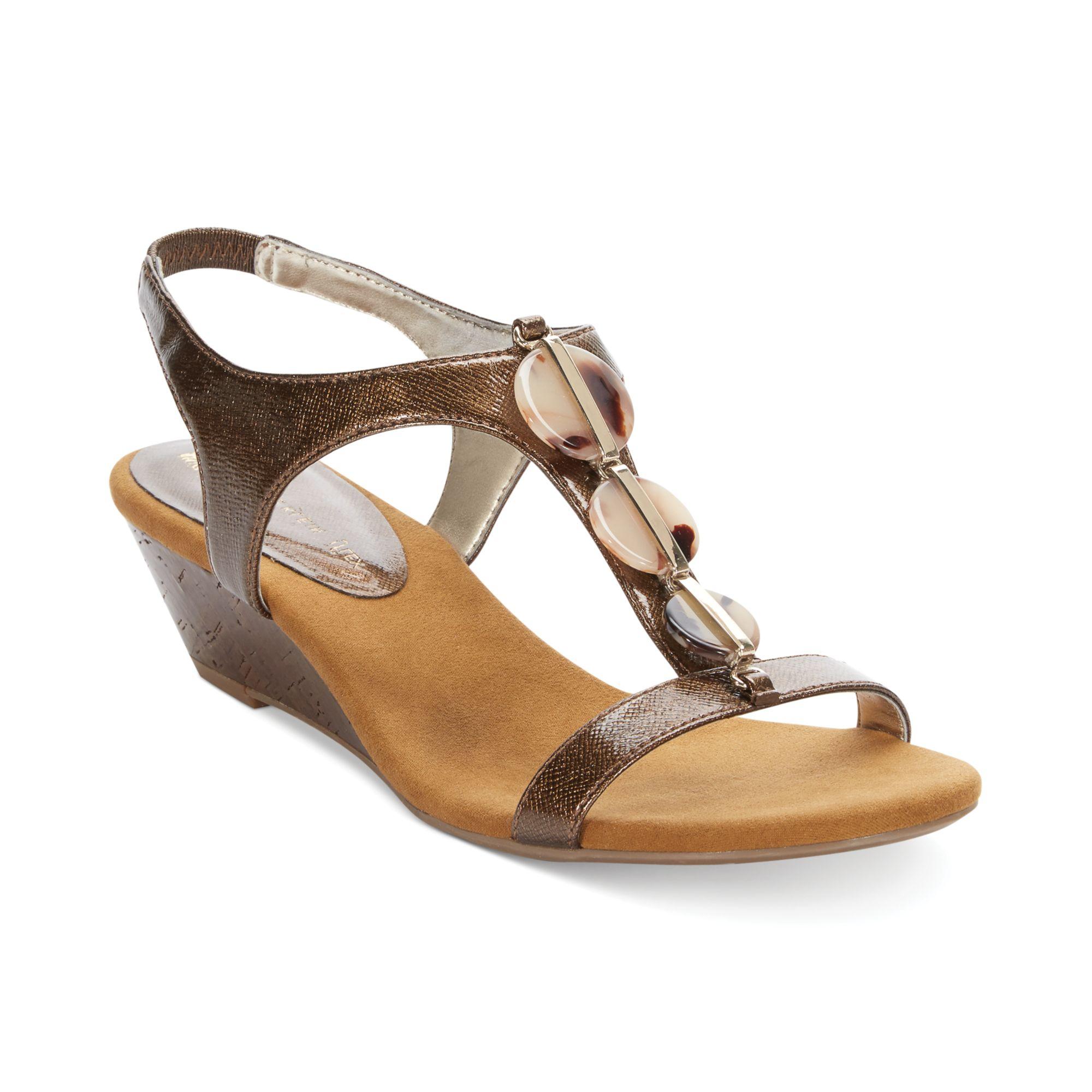 klein dustee tstrap mid wedge sandals in brown lyst