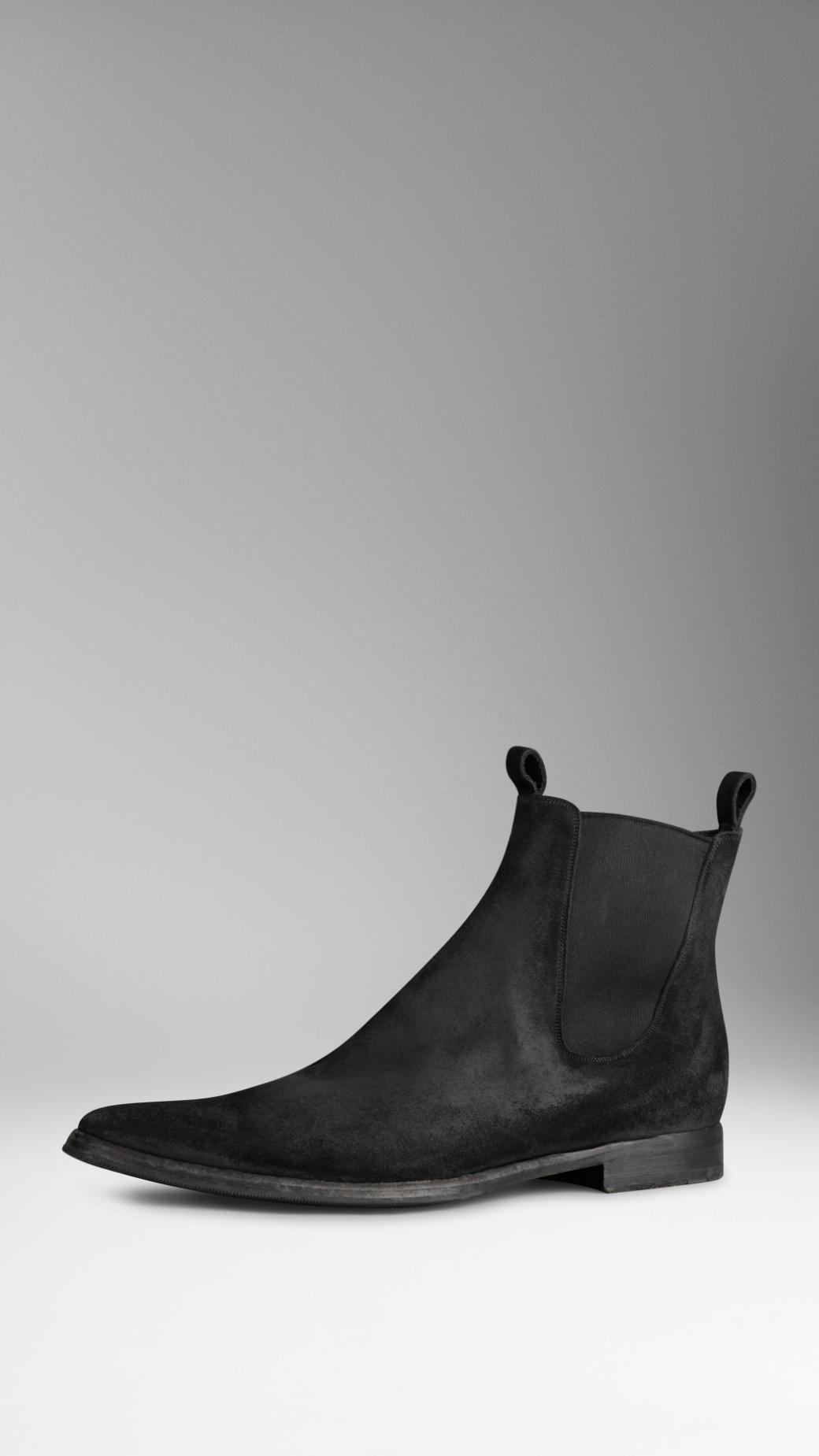 Lyst Burberry Suede Chelsea Boots In Black For Men