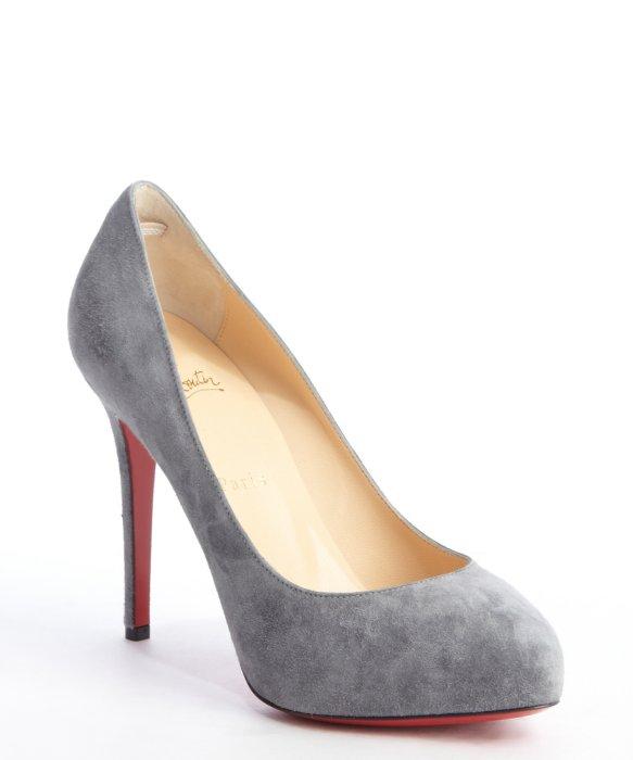 christian louboutin gray suede stilettos