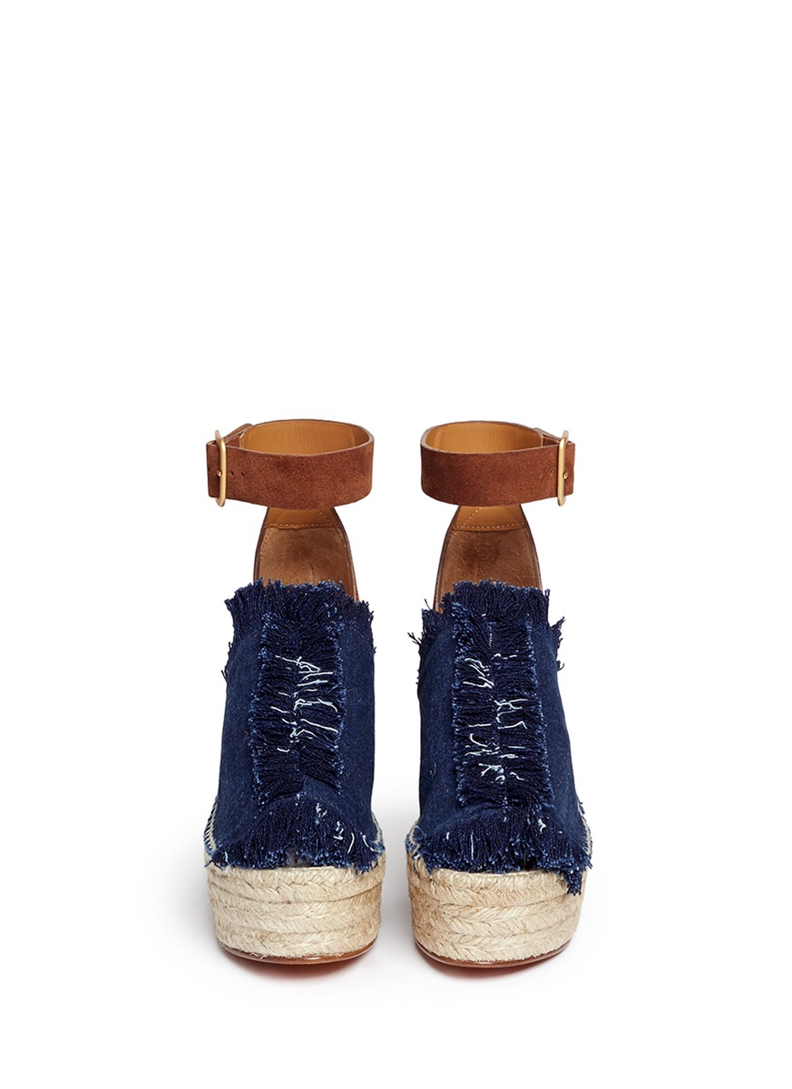 Chlo 233 Fringe Denim Suede Espadrille Wedge Sandals In Brown
