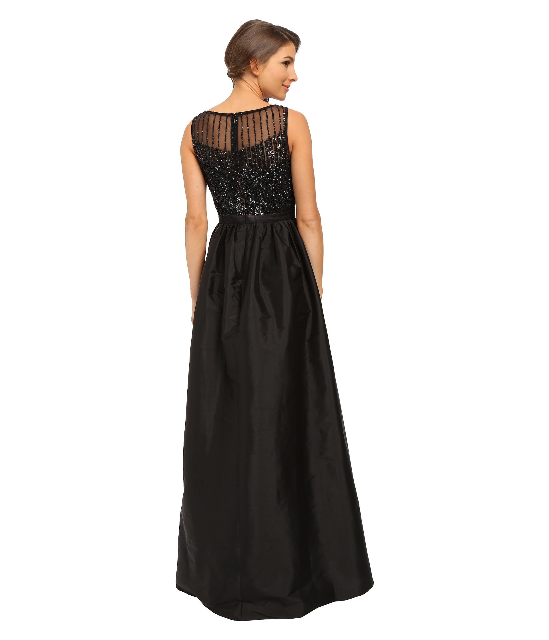 fa846eac17368 Adrianna Papell - Black Sleeveless Beaded Bodice Taffeta Ball Gown - Lyst