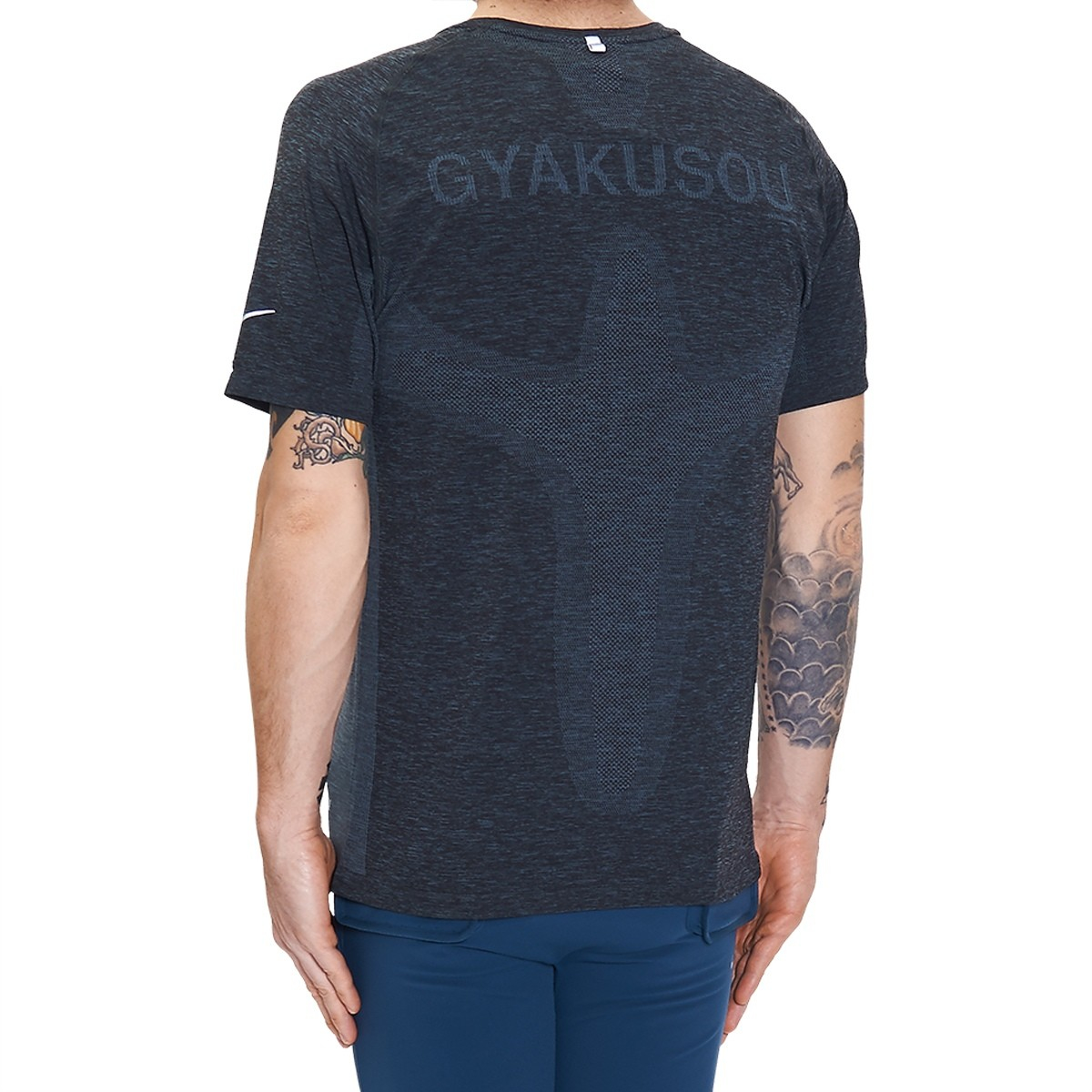 Lyst nike dri fit knit ss t shirt in blue for men for Dri fit dress shirts