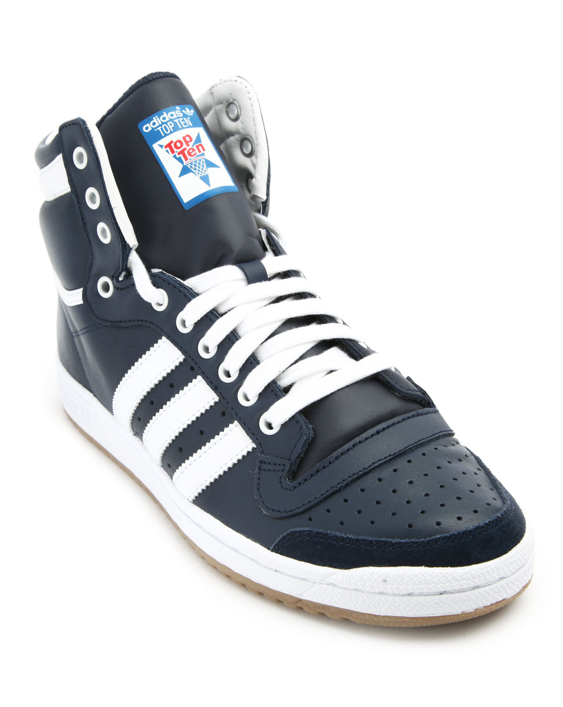 adidas top ten hi blue leather sneakers in blue for men lyst. Black Bedroom Furniture Sets. Home Design Ideas