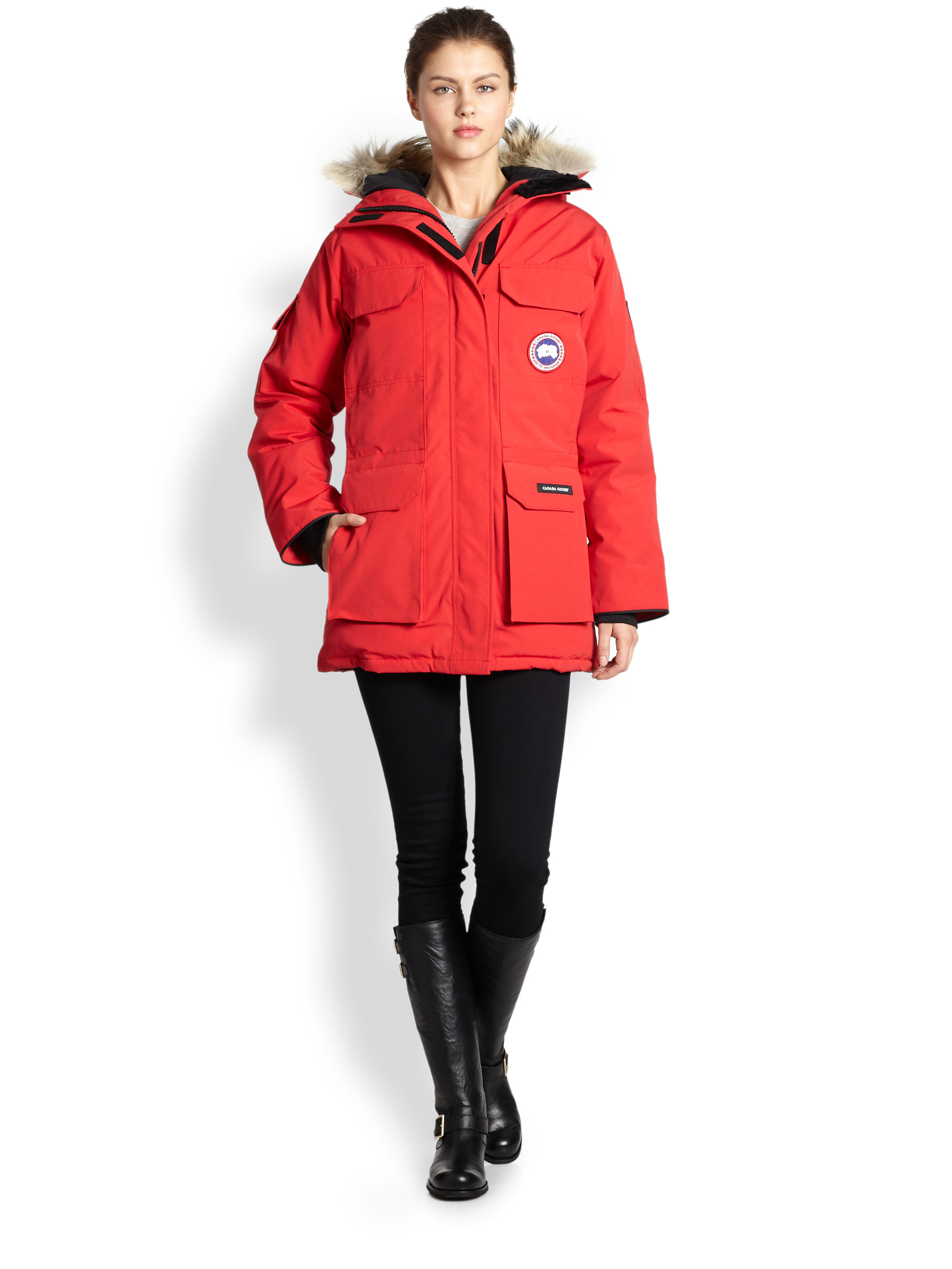canada goose fur trimmed expedition parka in black lyst