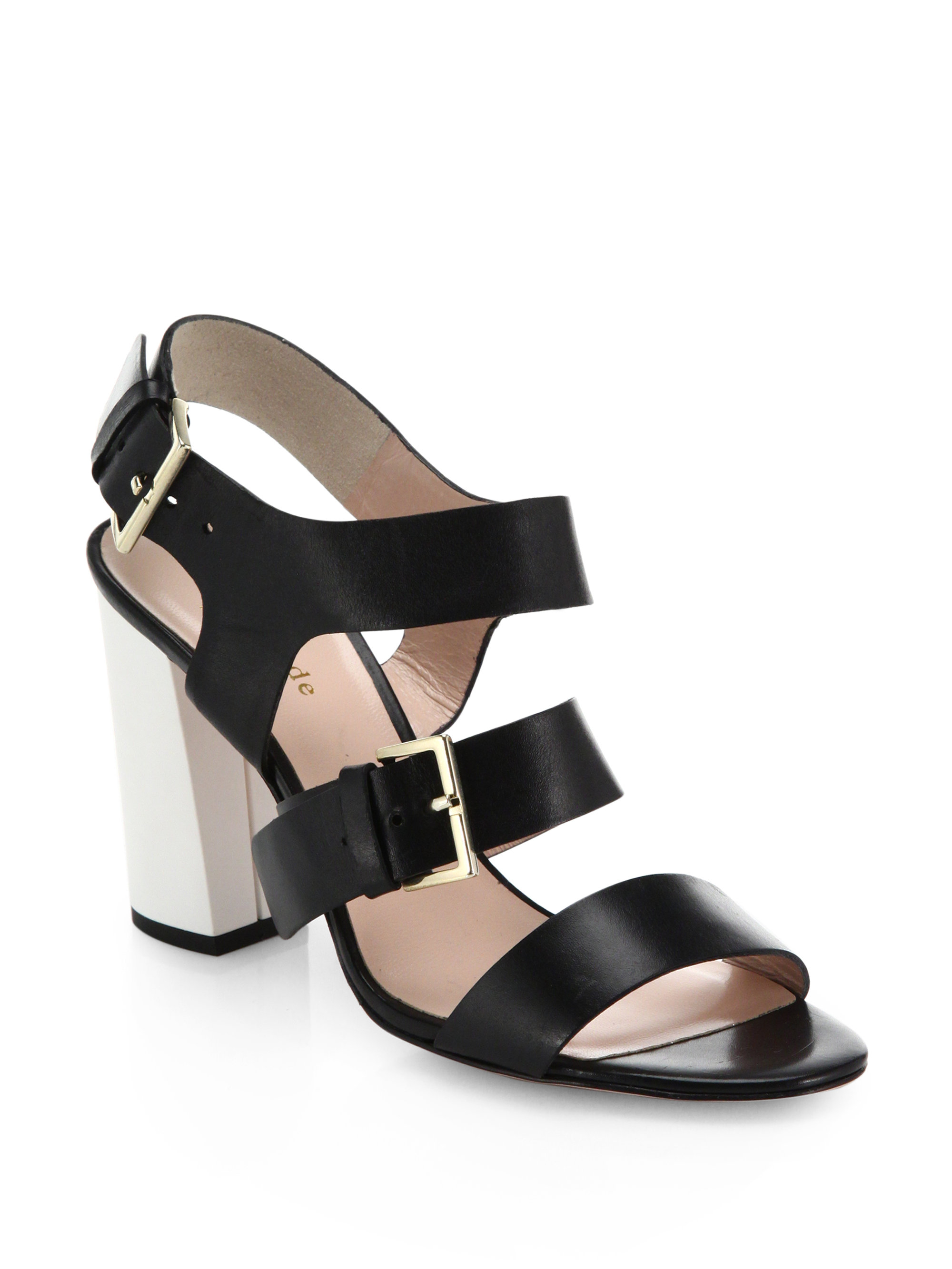 5c7a7912b26 Lyst - Kate Spade Ibarra Two-tone Block-heeled Sandals in Black