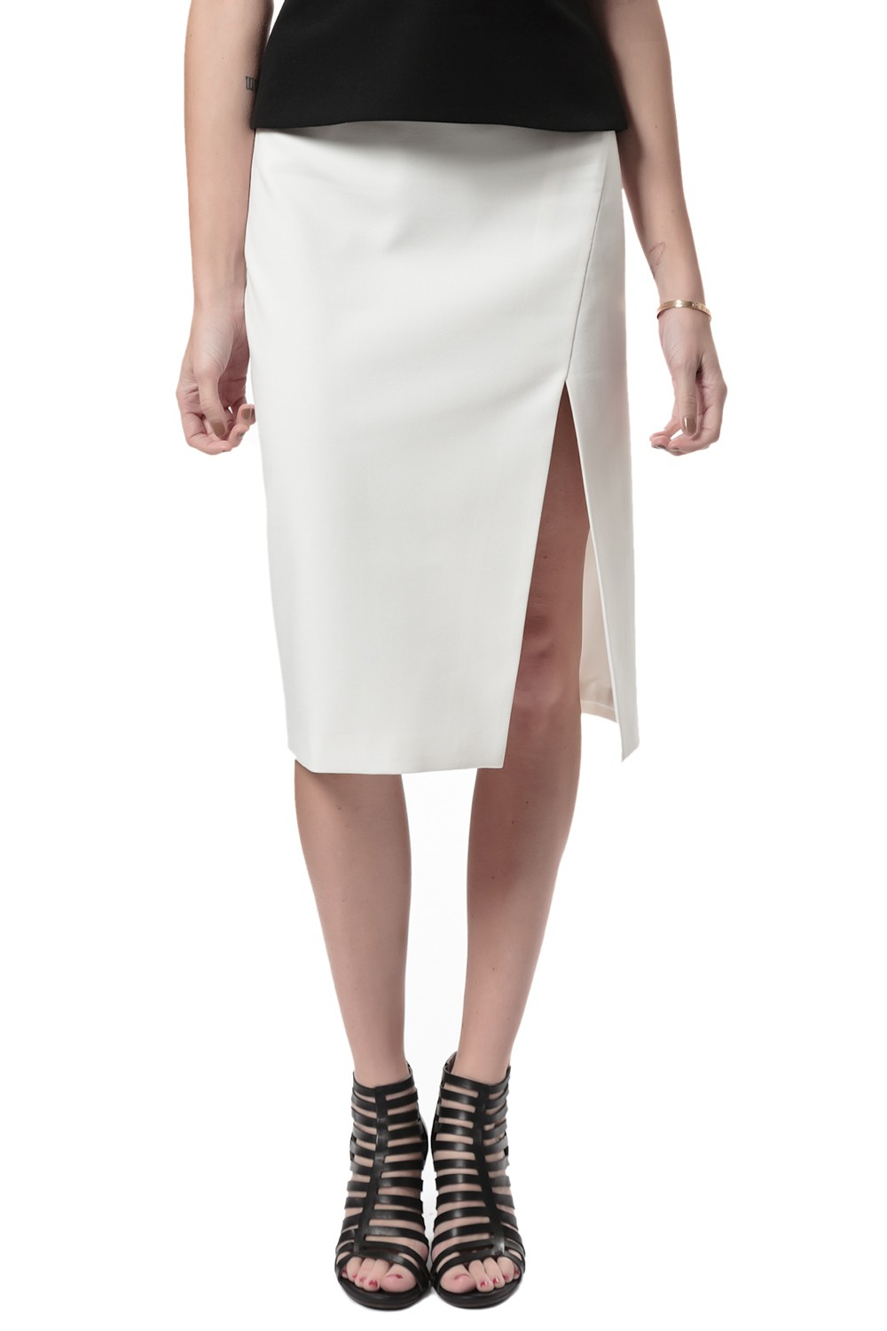 by slit pencil skirt in white ivory