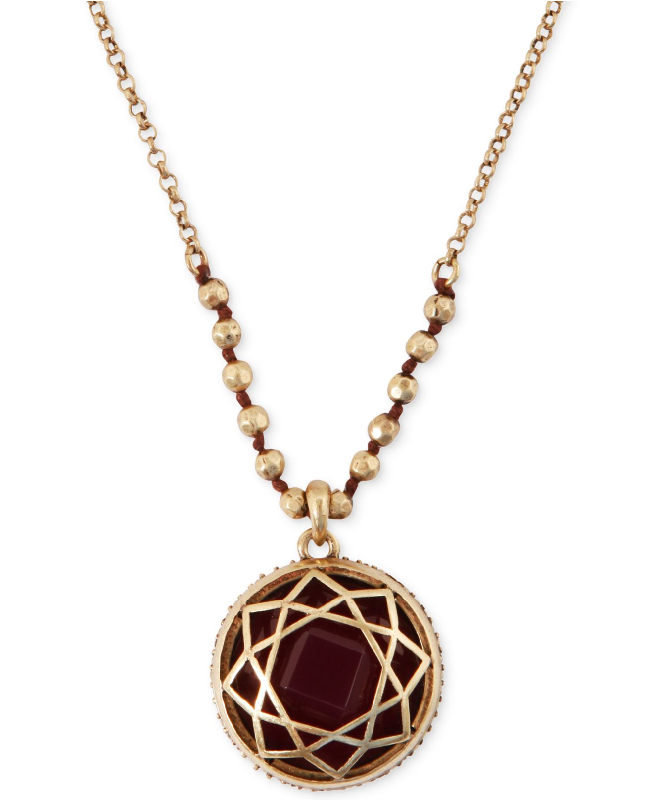 Lyst lucky brand gold tone red stone pendant necklace in metallic gallery aloadofball Gallery