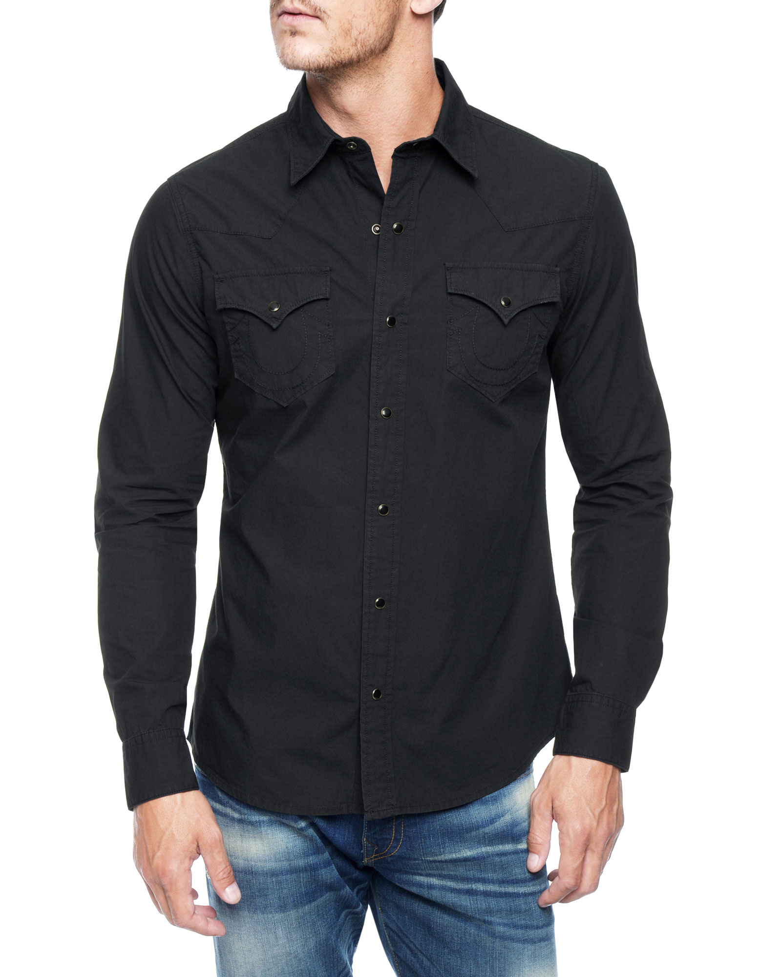 true religion jake western mens shirt in black for men lyst