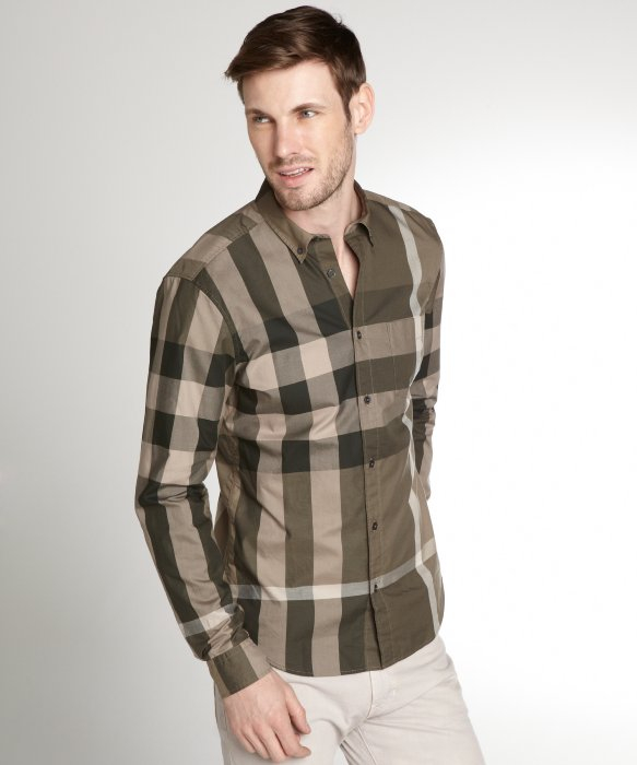Burberry Brit Green And Khaki Check Cotton Button Down