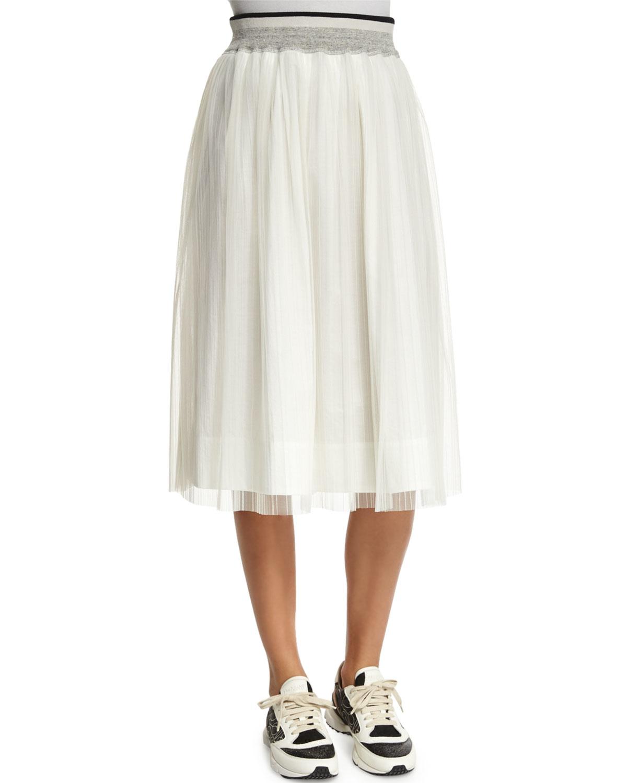 brunello cucinelli high waist a line skirt in white save