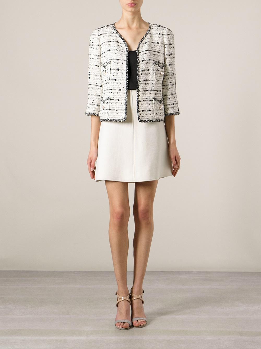 d873d8a5796e3 Lyst - Edward Achour Paris Embellished Bouclé Jacket in White