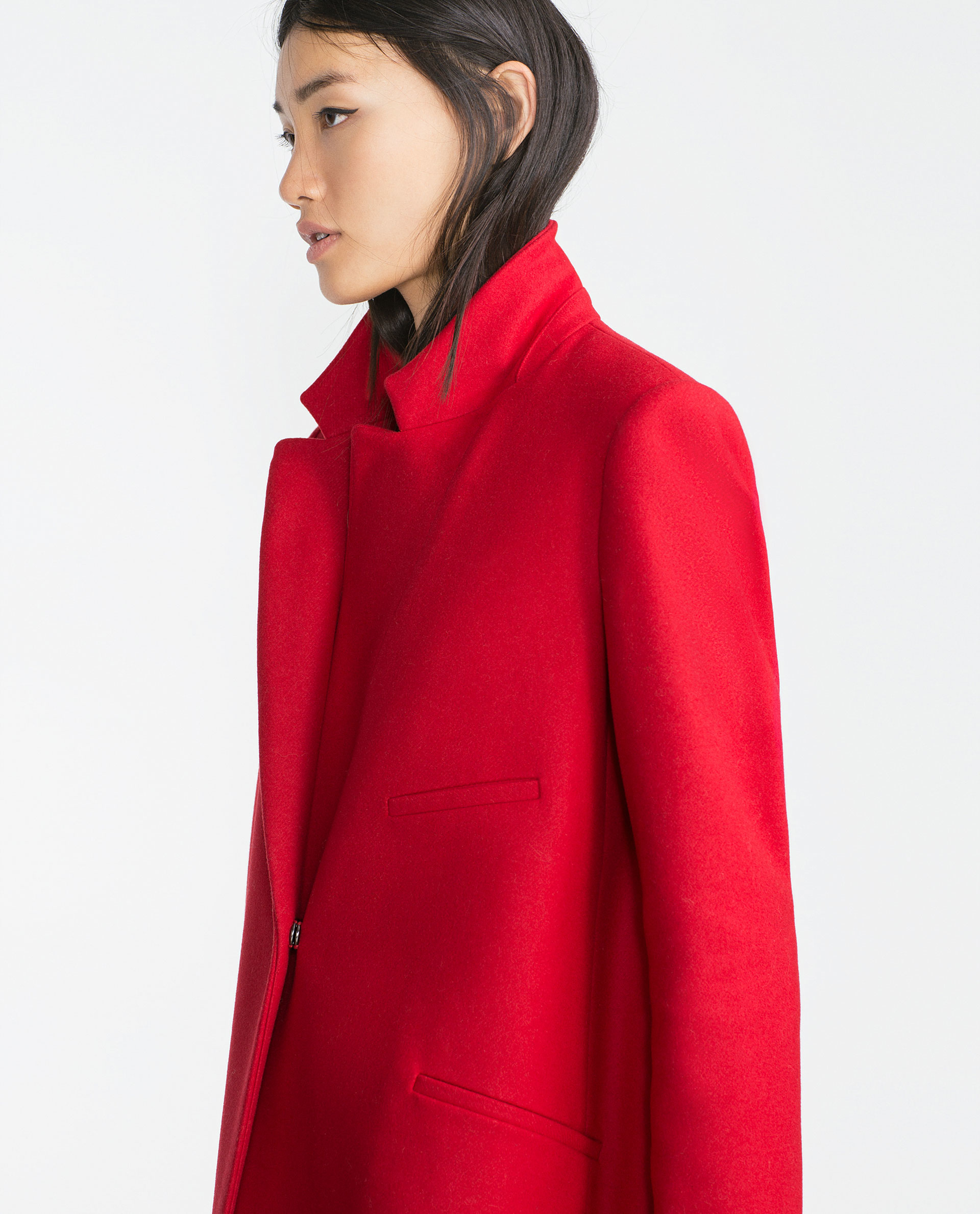 Zara Masculine Wool Coat in Red | Lyst