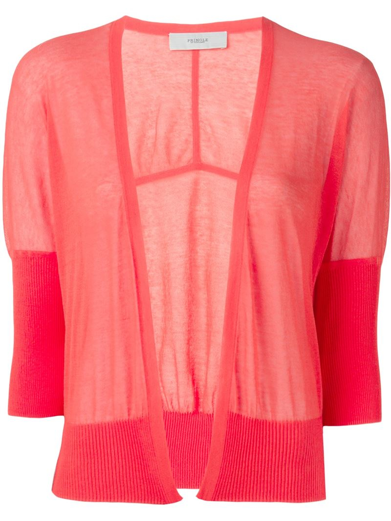 Pringle of scotland Cropped Sheer Cardigan in Pink | Lyst