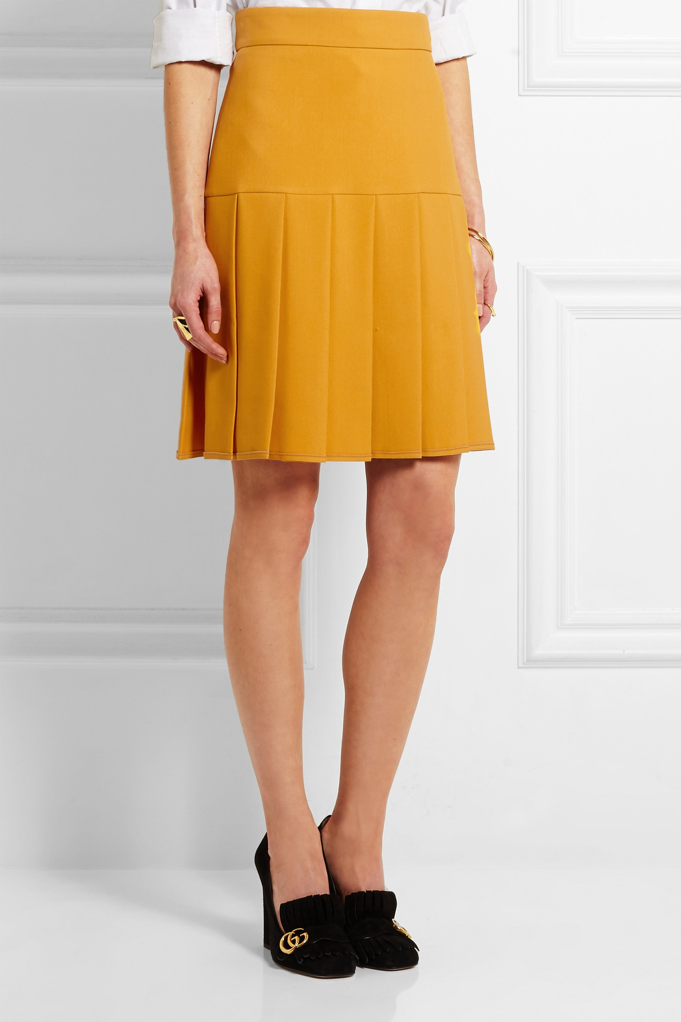 02dd50d81 Gucci Pleated Silk And Wool-blend Crepe Mini Skirt - Lyst