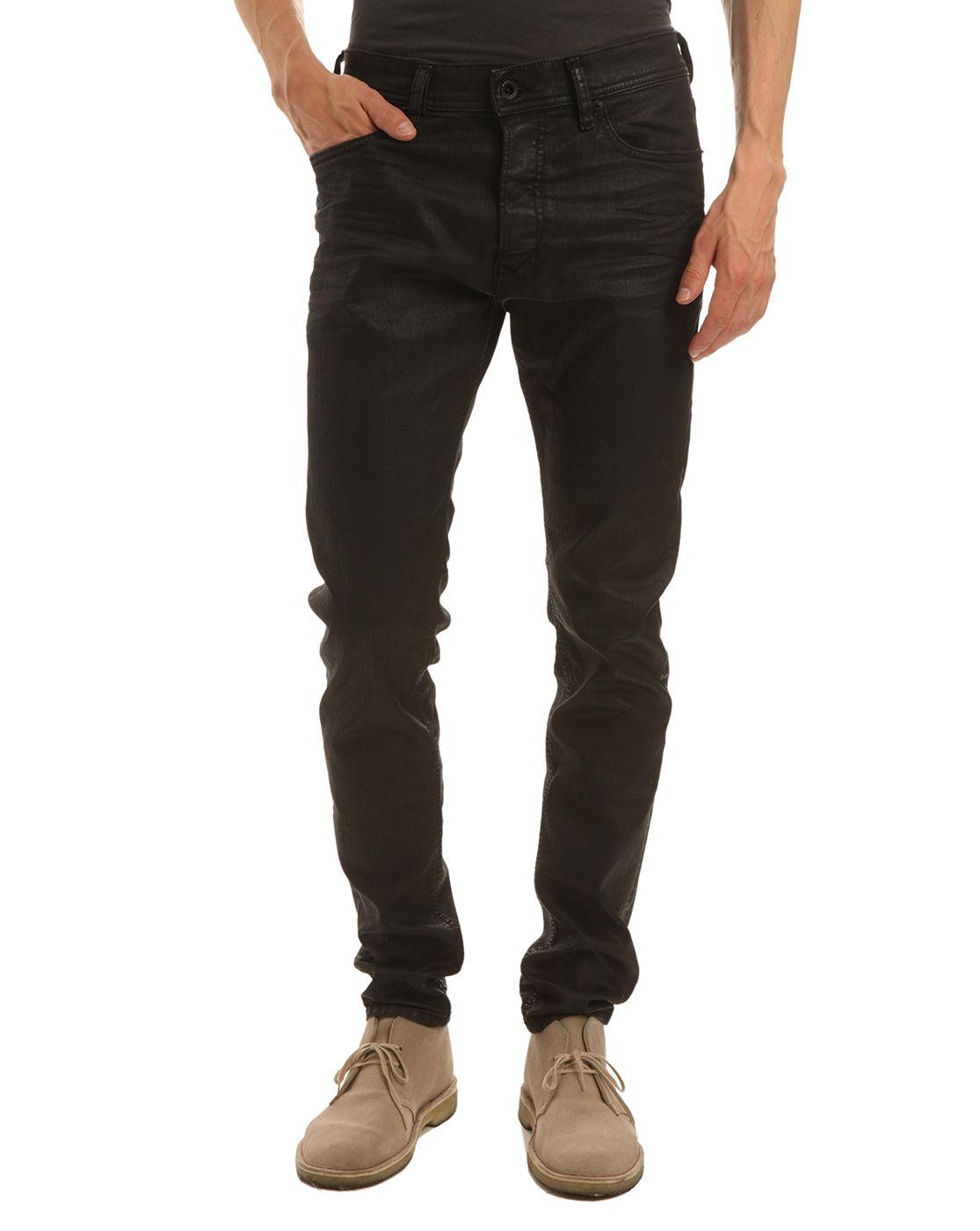 Diesel Tepphar Black Oiled Slim Fit Jeans in Black for Men  Lyst