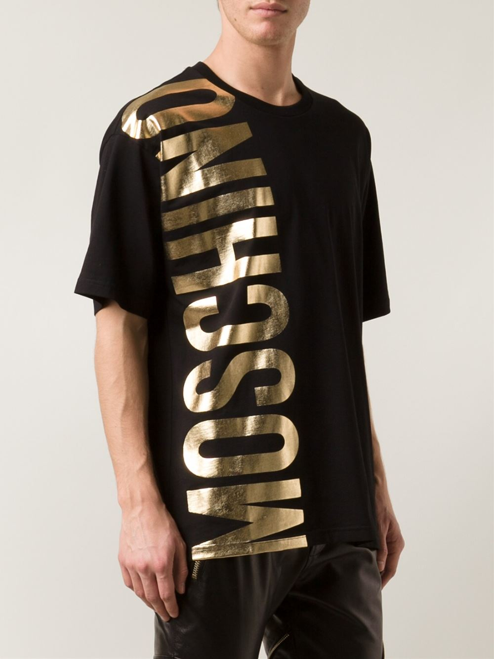Moschino Logo Print T-Shirt in Metallic for Men | Lyst