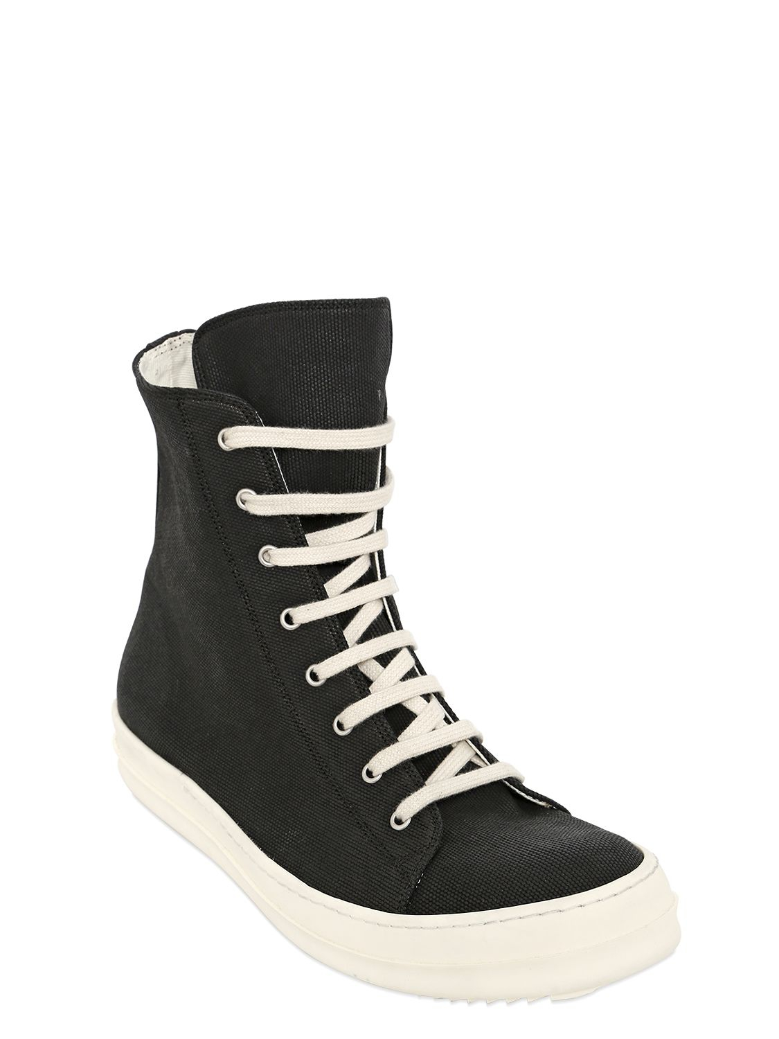 rick owens drkshdw cotton canvas high top sneakers in
