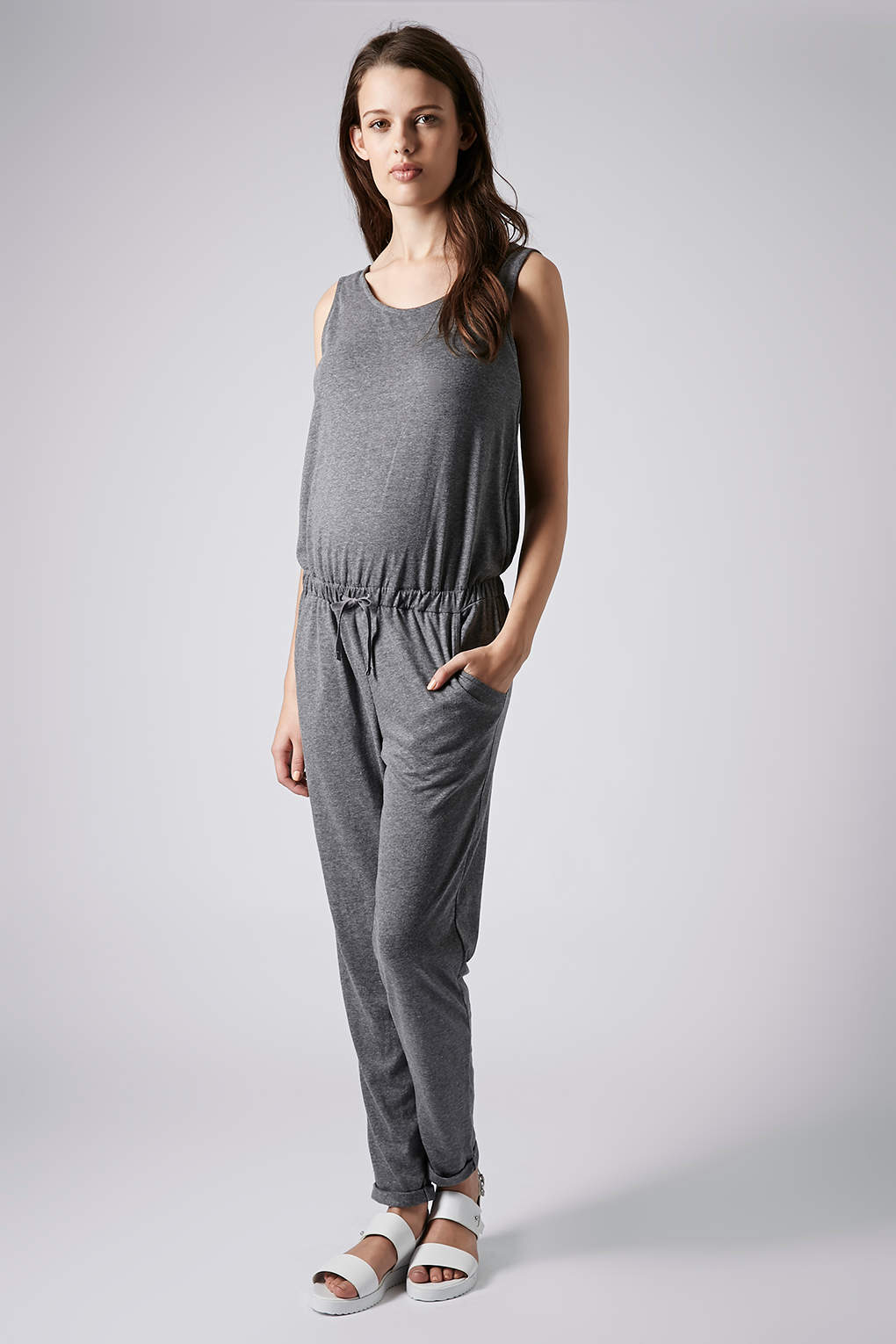 Topshop Maternity Jersey Jumpsuit in Gray