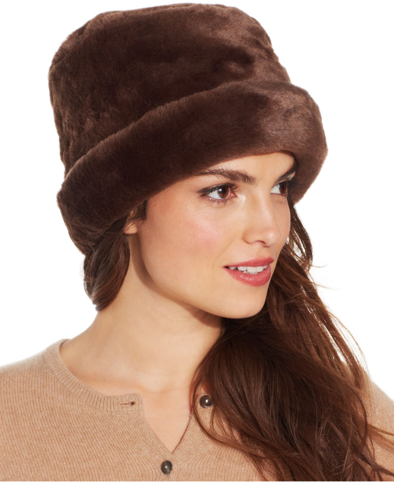 nine west faux fur cuff cloche in brown lyst. Black Bedroom Furniture Sets. Home Design Ideas