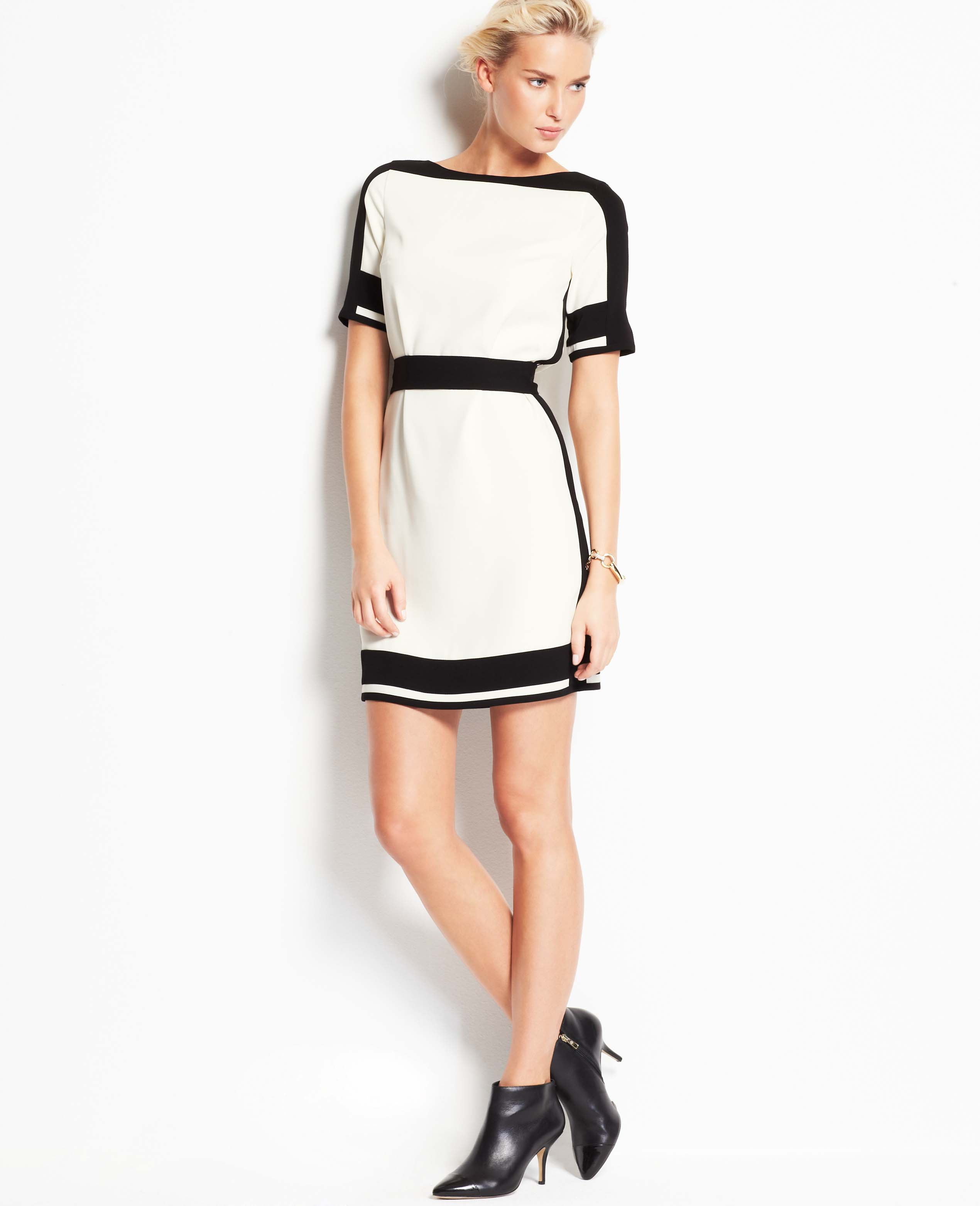 a70102a3bf9 Ann Taylor Belted Colorblock Dress in White - Lyst