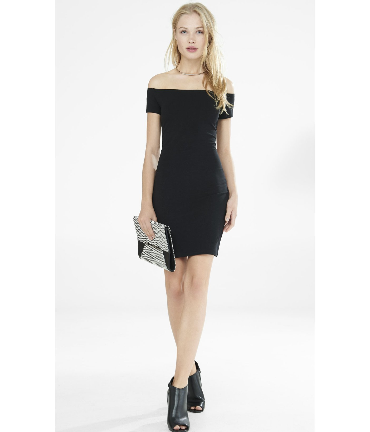 Lyst Express Off The Shoulder Sheath Dress In Black