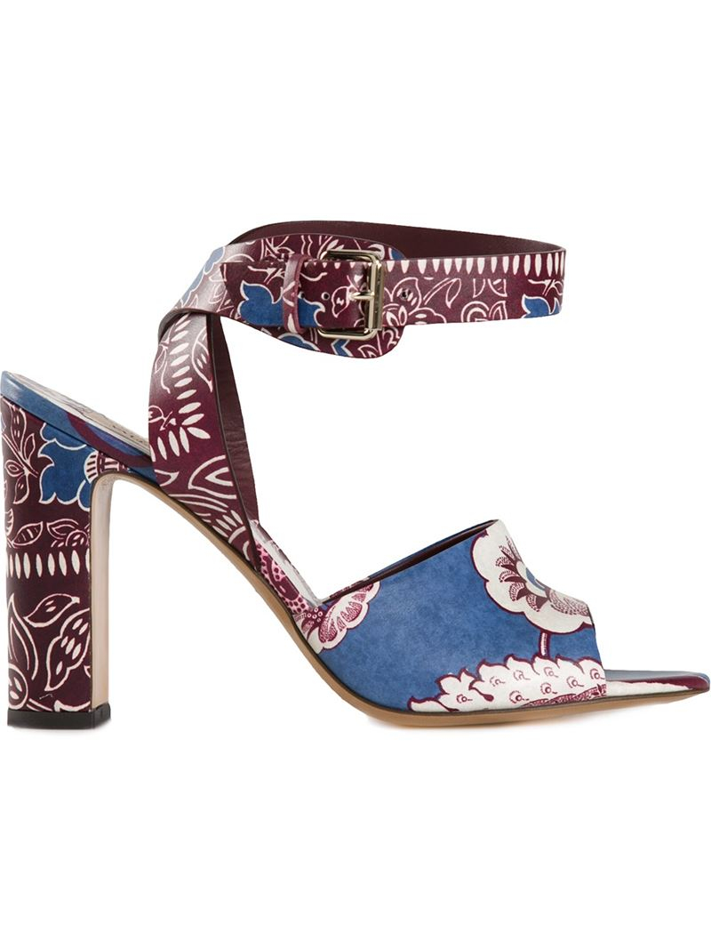 8960ecd36fa97 Lyst - Valentino Floral Print Sandals in Red