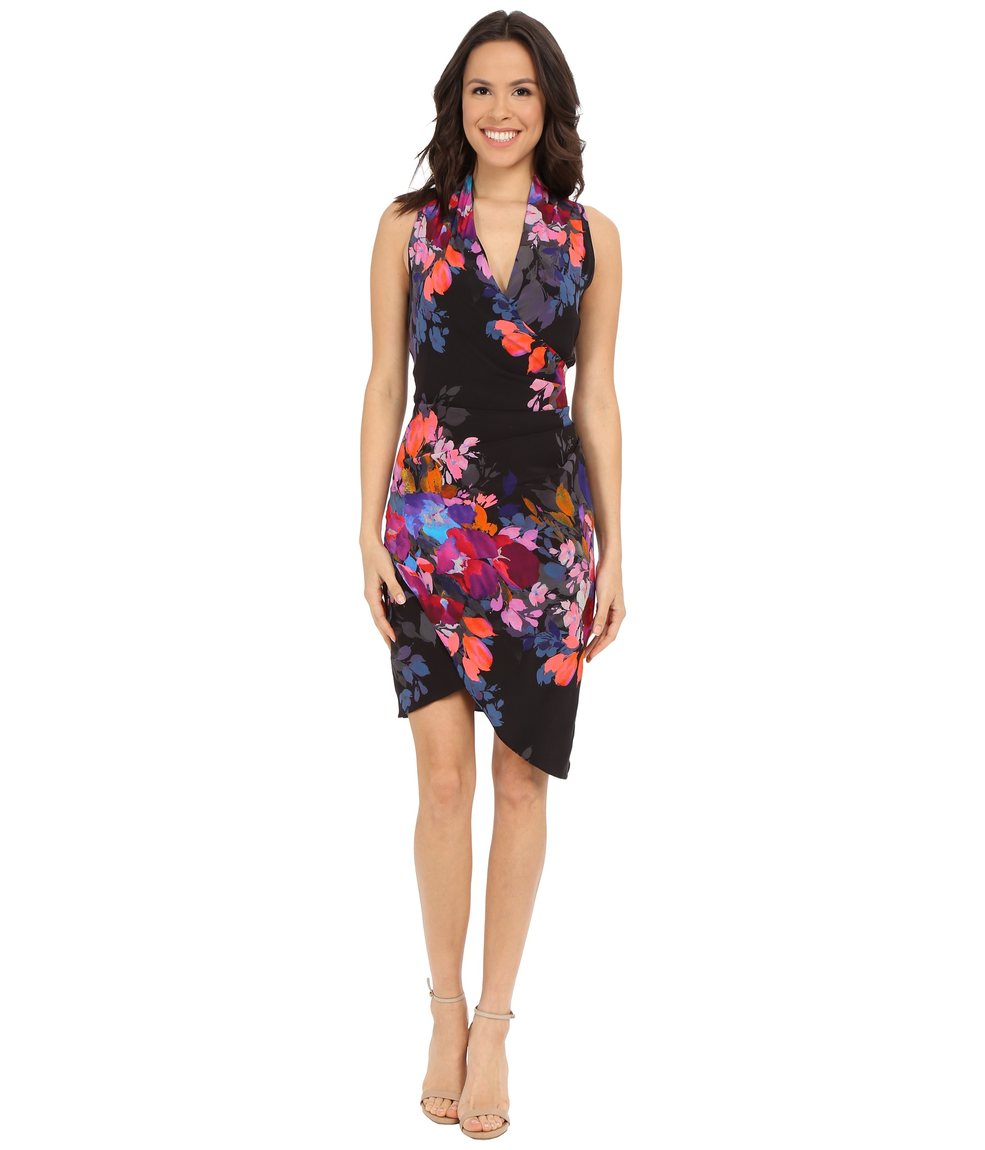 Nicole miller Stefanie Botanic Printed Dress in Black  Lyst