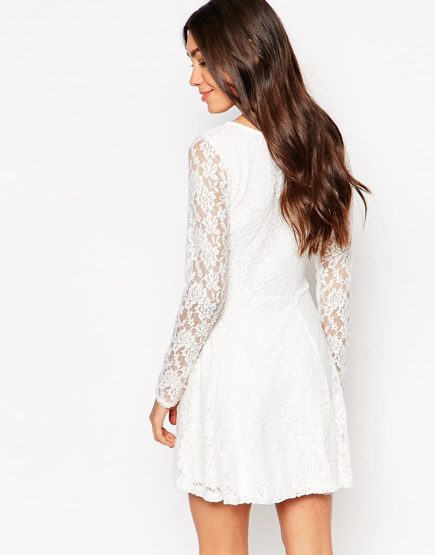 Wal-g Lace Skater Dress With Long Sleeves in White | Lyst