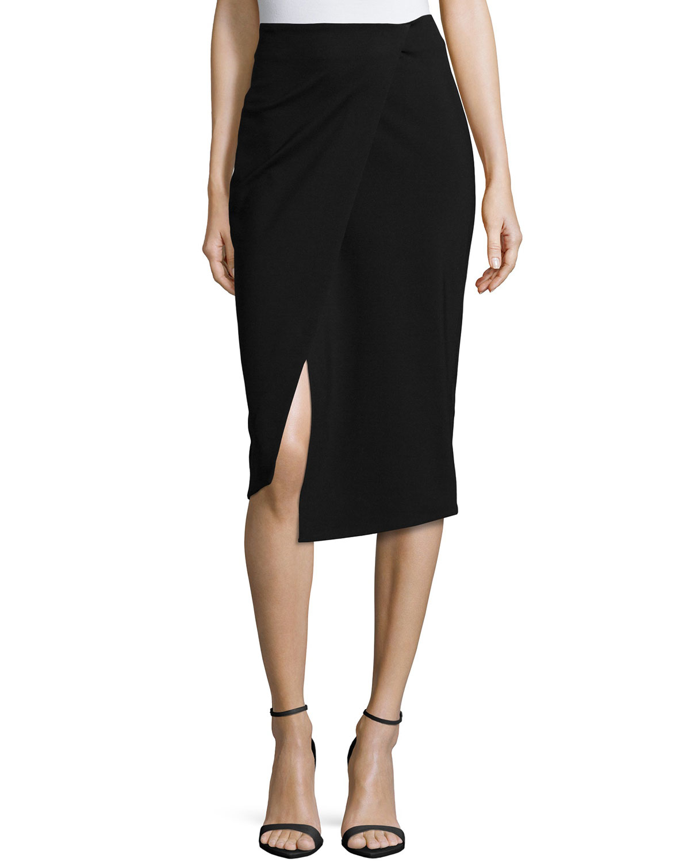 Nicholas Ponti Wrap-front Pencil Skirt in Black | Lyst